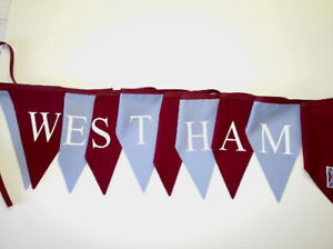 Printed West Ham bunting - Claret and blue flags with White print