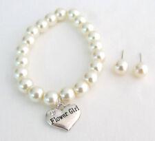Flower Girl Wedding Bracelet  With Stud Earrings Junior Bridesmaid Jewelry