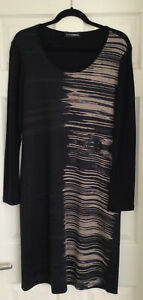 New Doris Streich Black And Taupe Dress Size 14/42