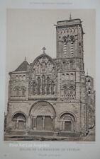 """Antique Photogravure """"Eglise De La Madeleine De Vezelay"""" France 1893-95"""