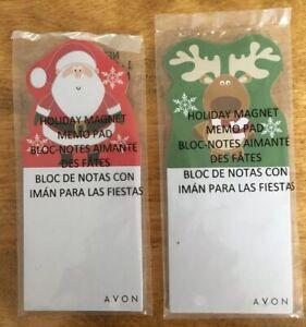 AVON Magnetic Memo Note Pads, CHRISTMAS Themed, Santa & Reindeer, NEW In Package