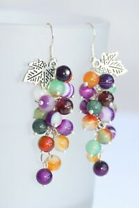 Hand Crafted Grape Earrings - MixColour Agate Stones 925 Sterling Silver Hooks