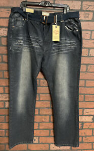 Brooklyn Express Dirty Dark Belted Jeans Men's Size 48 x 33