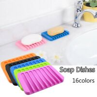 Silicone Bathroom Soap Dish Soap Holder Jewelry Holder Soapbox Plate Tray Drain~