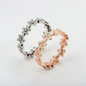 925 silver Rose Gold Sparkling DAZZLING DAISY BAND Stackable European Ring