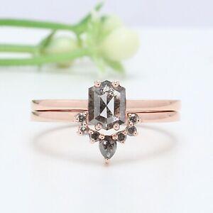 0.73 CT, Salt And Pepper Ring, Hexagon Diamond Ring, 14K Rose Gold Ring, GRN1281