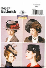 BUTTERICK SEWING PATTERN 6397 MISS' 6-14 HISTORICAL RETRO MILLINERY HATS COSTUME