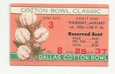 1953 Texas vs Tennessee Cotton Bowl original football ticket stub