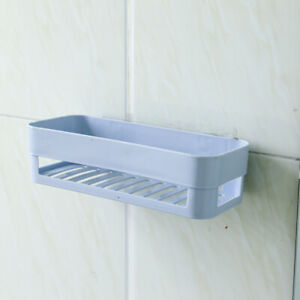 Stick Type Bathroom Wall Storage Rack Organizer Shower Shelf Blue
