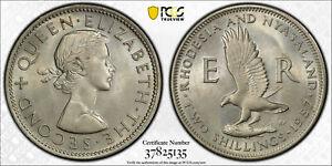 British Rhodesia, 1957 Elizabeth II Two Shillings, PCGS MS 65, 2 Shillings.
