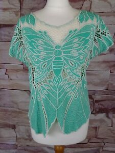 SUGARHILL BOUTIQUE green broderie anglaise butterfly top large hippy festival