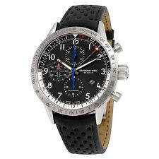 Raymond Weil Freelancer Chronograph GMT Automatic Black Dial Black Leather Mens