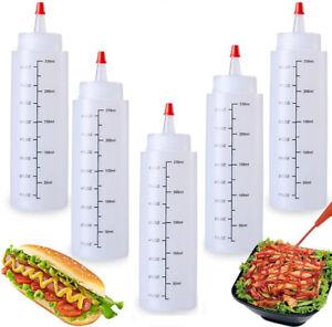 5X 8oz Kunststoff Squeeze Flasche Condiment Dispenser Ketchup Senf Sauce klare