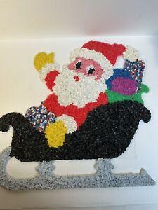 Vintage Melted Popcorn Plastic Decor Xmas Santa Claus Sleigh Bag Toys Christmas