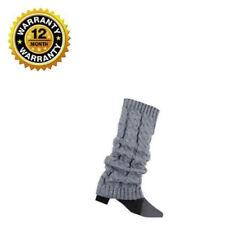 Womens Boot Socks Light Gray Winter Warm Knitted Crochet Long Thick Leg Socks