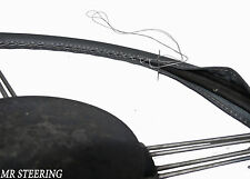FOR RELIANT SCIMITAR GTE 1976-1990 REAL DARK GREY LEATHER STEERING WHEEL COVER