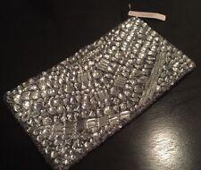 Victoria's Secret Limited Silver Jeweled Bling Rhinestone Sequin Clutch Purse