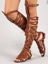 Roman Hollow Open Toe Buckle Women Knee High Boots Flat Shoes Sandal Boots e-73