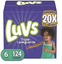 Luvs Ultra Leakguards Disposable Diapers, Size 6, 124 Count, One Month Supply