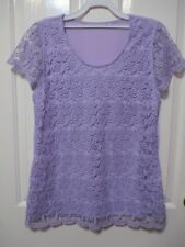 Ladies Mauve Lace covered short sleeved top size 14