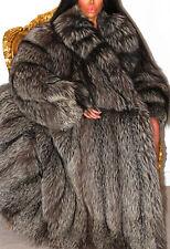 LUXE FULL LENGTH SILVER PLATINUM SAGA REAL FOX FUR COAT JACKET XL STUNNING!