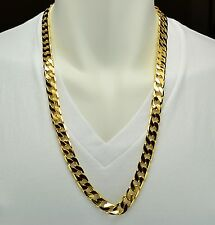 MENS HEAVY 18K YELLOW GOLD FILLED FIGARO LINK CHAIN NECKLACE 30IN - SOLID
