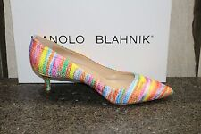 NIB MANOLO BLAHNIK KITTEN 50 RAINBOW FABRIC Pumps Shoes 38
