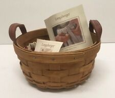 Longaberger Handmade Woven Basket 2002 Leather Straps 7""