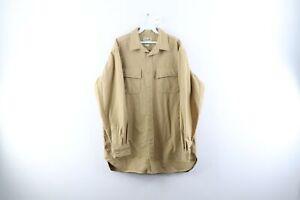 Vintage LL Bean Mens Large Tall Double Pocket Chamois Cloth Button Shirt Khaki