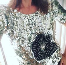 Vtg 80s Le Mieux Paris Silk India Metallic Sequin Sheer Disco Leaf Floral Top L
