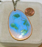 "Vintage Enamel on Copper Blue Green Pendant 22"" Silver chain Necklace 9j 21"