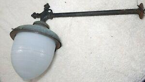 Vintage Industrial Street Light Fixture Art Deco Acorn Globe Cast Iron Bracket