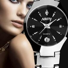 Ladies Luxury Nary Quartz Black & Crystal Face Date Stainless Steel Wrist Watch.