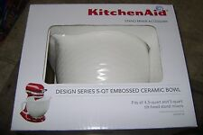 Kitchen Aid Stand mixer Accessory 5Qt Embossed Ceramic Mixer Bowl White