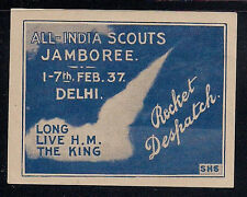 1937 INDIA rocket mail stamp BOY SCOUTS JAMBOREE - signed Smith - EZ 18A1