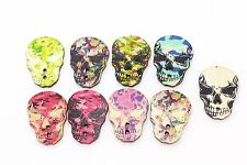 Skull Wood Button Halloween Camouflage Punk Rock Large Mix Lots 33mm 20pcs