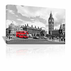 Black and White London landscape red Bus framed canvas print xmas gift - C097