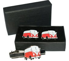 Red VW Camper Van Cufflinks & Tie Clip Set. Gift Wedding NEW & Boxed! Enamel