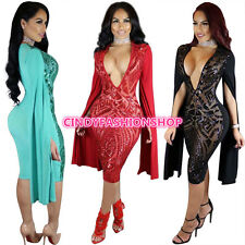 Women Elegant Cloak Sleeve V-Neck Lace Sequined Club Prom see through Dress #P8
