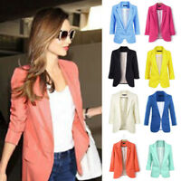 US Ship Casual Slim Suit Blazer Coat Jacket Outwear Women Candy Color No Buckle