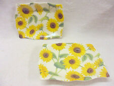 Heron Cross Pottery set of 2 sunflower floral soap dish