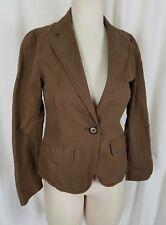 Gap Single Button Linen Brown Blazer Short Jacket Womens 2 Riding Equestrian