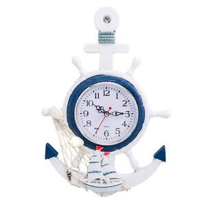 Beach Sea Theme Anchor Clock Mediterranean Style Nautical Wheel Wall Decor
