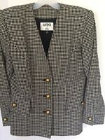 KASPER ASL Black Grey Houndstooth Tweed Wool Blend Gold Button Blazer Jacket 6