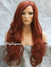 Natural Wavy wig with Side Skin parting Copper Red JSCO 130