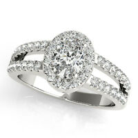 2.15 CT FOREVER ONE GHI MOISSANITE OVAL PAVE HALO SPLIT BAND ENGAGEMENT RING