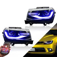 VLAND 2* LED RGB Headlight Fit For 2014 2015 Chevrolet Camaro Projector Set
