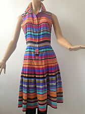 NEW CALVIN CLEIN CHIC MULTICOLORED STRIPES  PLEATED DRESS SIZE 6, GOOD FOR M,S
