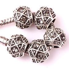 Fashion 5pcs Silver Czech big hole Beads Fit European Charm Bracelet DIY B#127