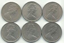 HIGHER GRADE LOT 6 GREAT BRITAIN 10 PENCE COIN-1968,1969,70,73,1975,1980-JUN653